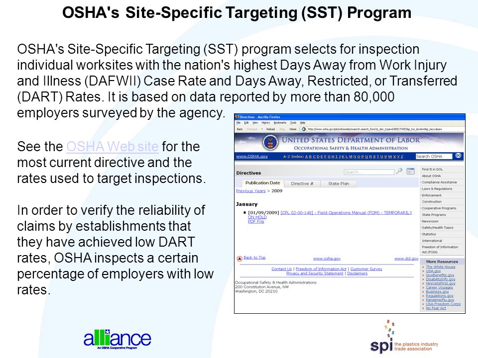OSHA's Site-Specific Targeting (SST) Program OSHA's Site-Specific Targeting (SST) program selects for inspection individual worksites with the nation'