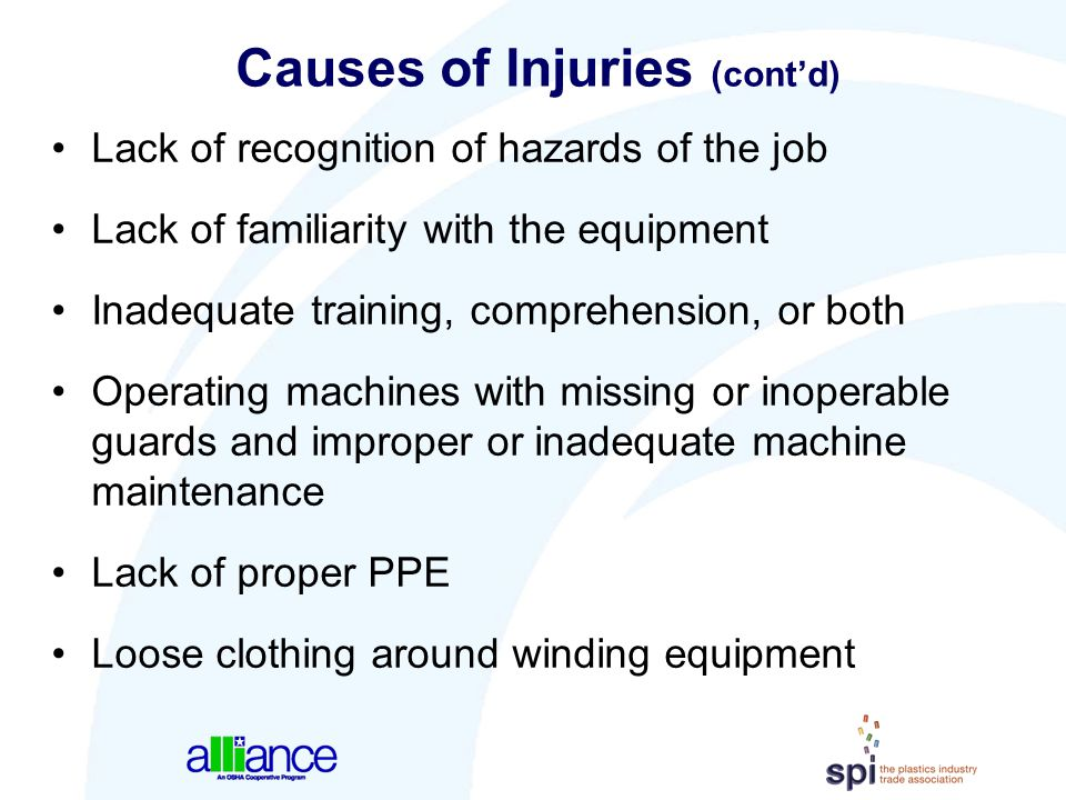 Causes of Injuries (cont'd) Lack of recognition of hazards of the job Lack of familiarity with the equipment Inadequate training, comprehension, or bo