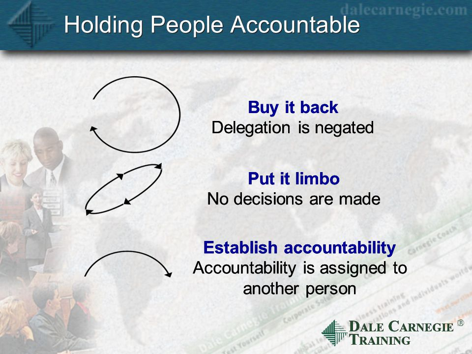 D ALE C ARNEGIE T RAINING  Holding People Accountable Put it limbo No decisions are made Establish accountability Accountability is assigned to another person Buy it back Delegation is negated