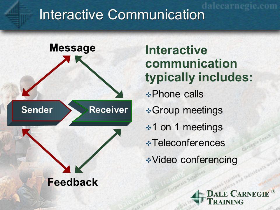 D ALE C ARNEGIE T RAINING  Interactive Communication Interactive communication typically includes:  Phone calls  Group meetings  1 on 1 meetings  Teleconferences  Video conferencing Message Feedback Receiver Sender