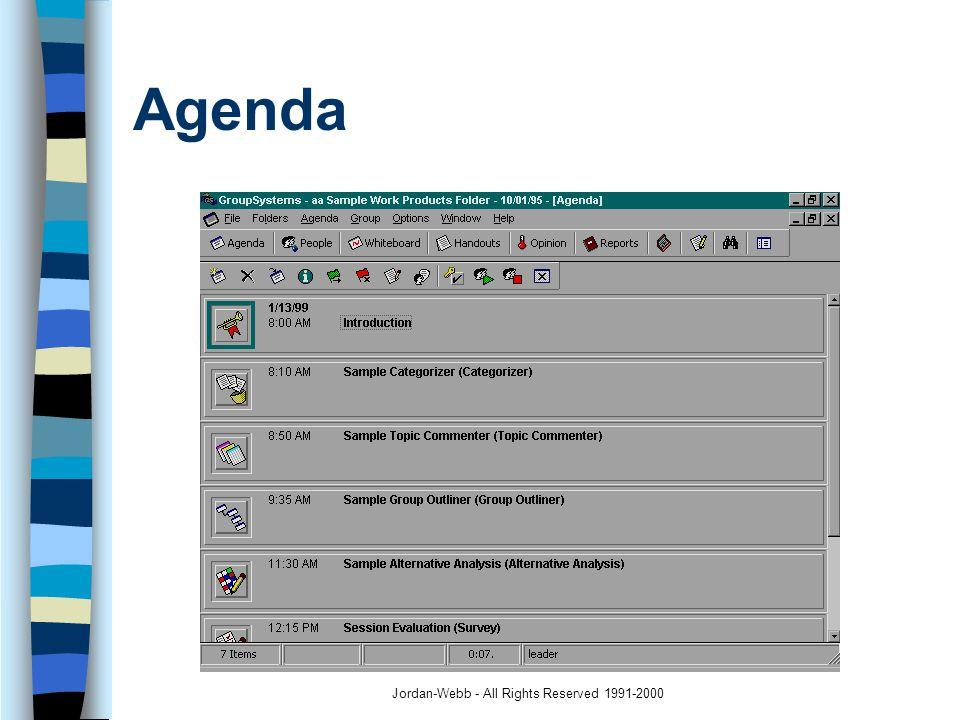 Jordan-Webb - All Rights Reserved 1991-2000 Agenda