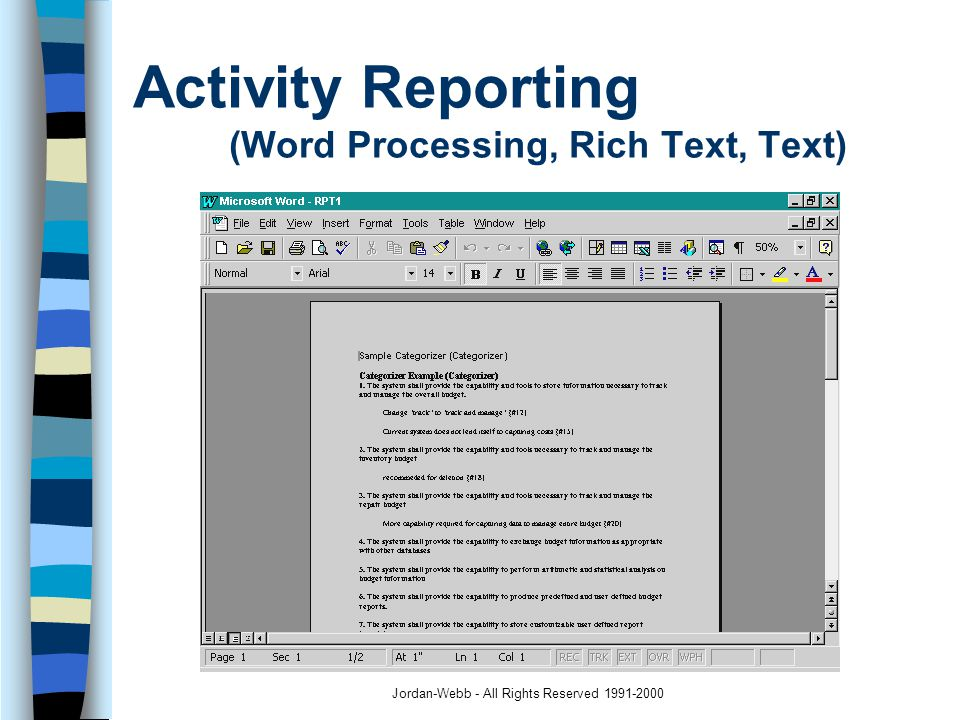 Jordan-Webb - All Rights Reserved 1991-2000 Participant Handouts (Word Processing, Spreadsheet, Text)