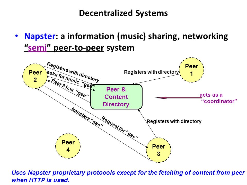 Decentralized Systems Napster: a information (music) sharing, networking semi peer-to-peer system Peer & Content Directory Peer 1 Peer 4 Peer 3 Peer 2 Registers with directory asks for music gee Peer 3 has gee Request for gee transfers gee Uses Napster proprietary protocols except for the fetching of content from peer when HTTP is used.
