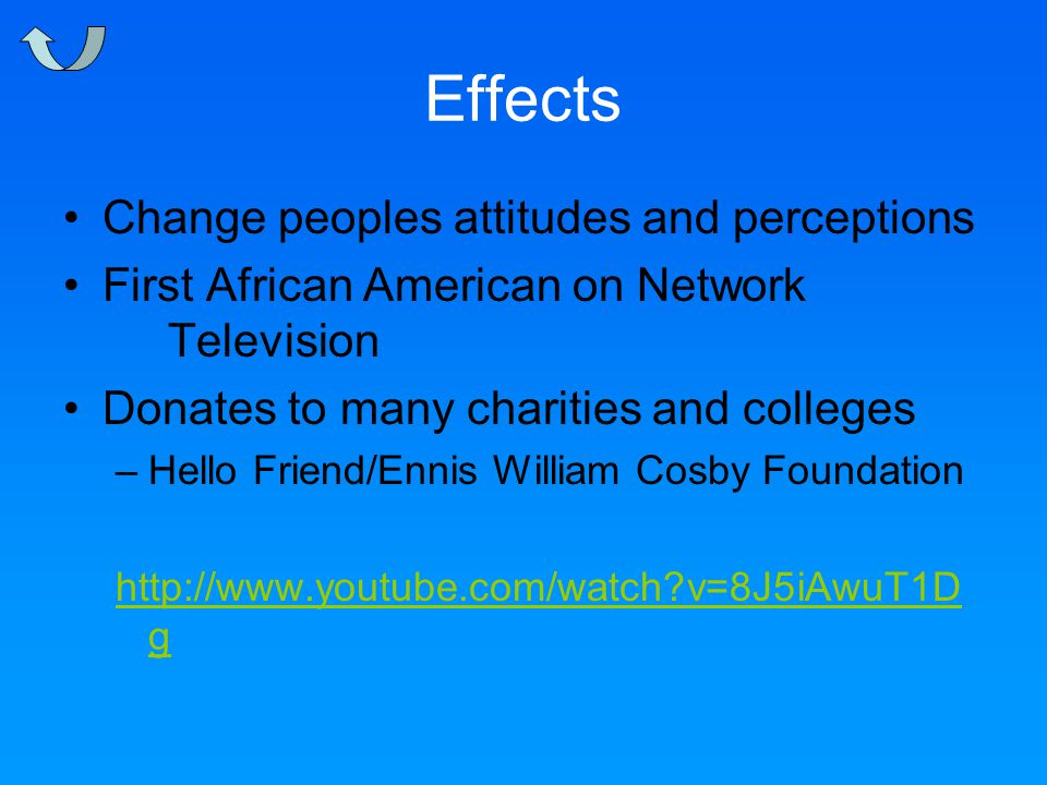 Effects Change peoples attitudes and perceptions First African American on Network Television Donates to many charities and colleges –Hello Friend/Ennis William Cosby Foundation http://www.youtube.com/watch v=8J5iAwuT1D g