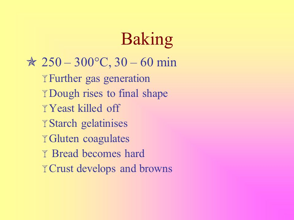 Baking  250 – 300°C, 30 – 60 min  Further gas generation  Dough rises to final shape  Yeast killed off  Starch gelatinises  Gluten coagulates  Bread becomes hard  Crust develops and browns