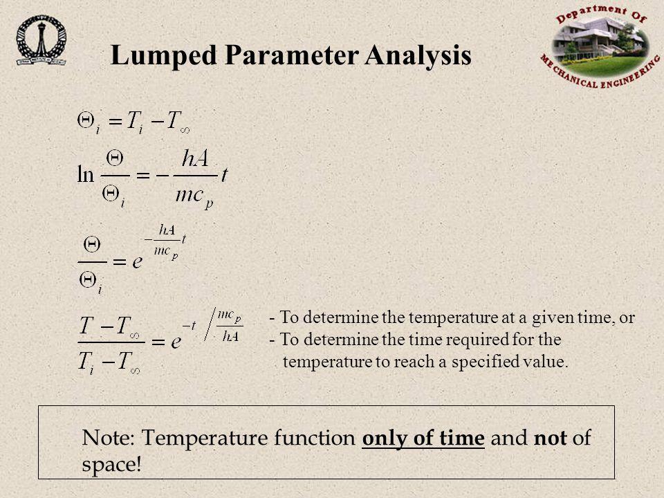 Thermal diffusivity: (m² s -1 ) Lumped Parameter Analysis