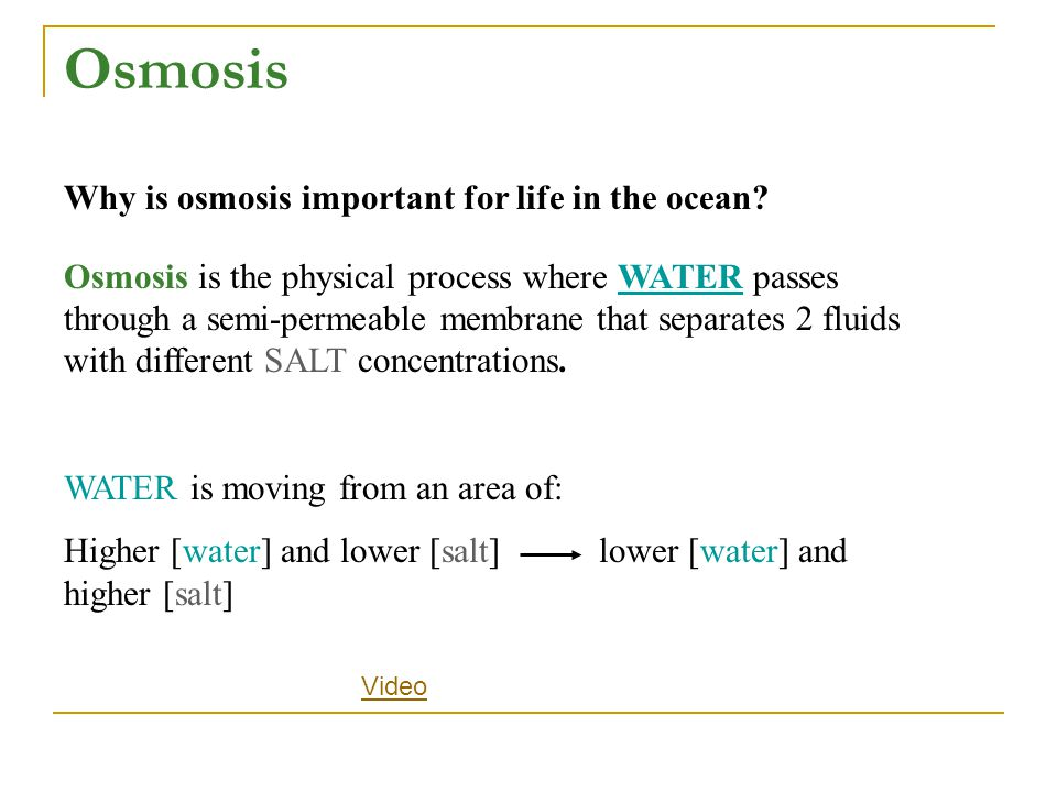 Osmosis is the physical process where WATER passes through a semi-permeable membrane that separates 2 fluids with different SALT concentrations. WATER
