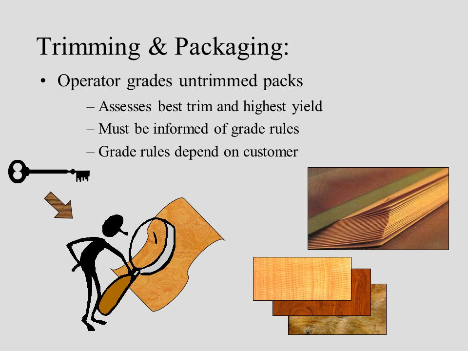 Trimming & Packaging: Operator grades untrimmed packs –Assesses best trim and highest yield –Must be informed of grade rules –Grade rules depend on customer