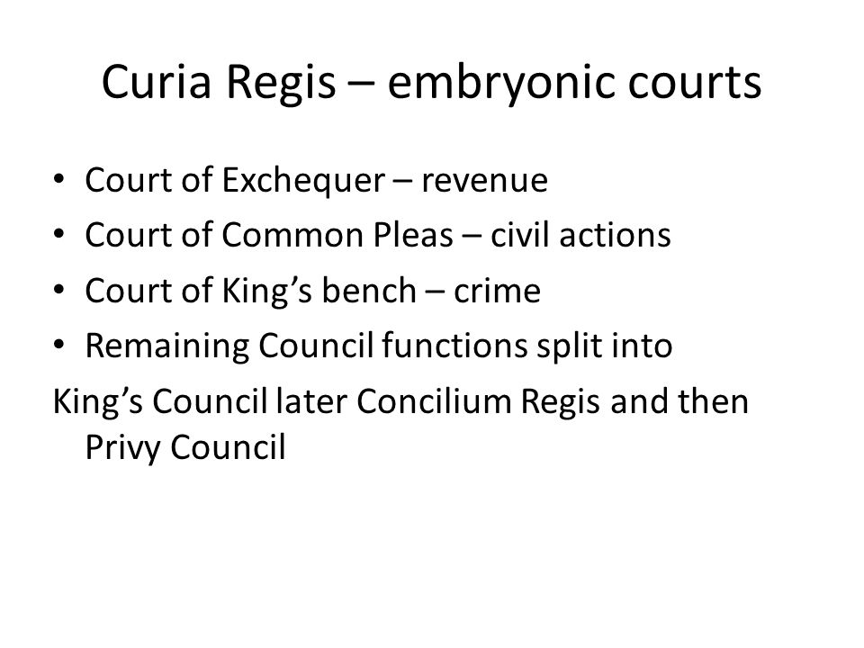Curia Regis – embryonic courts Court of Exchequer – revenue Court of Common Pleas – civil actions Court of King's bench – crime Remaining Council func