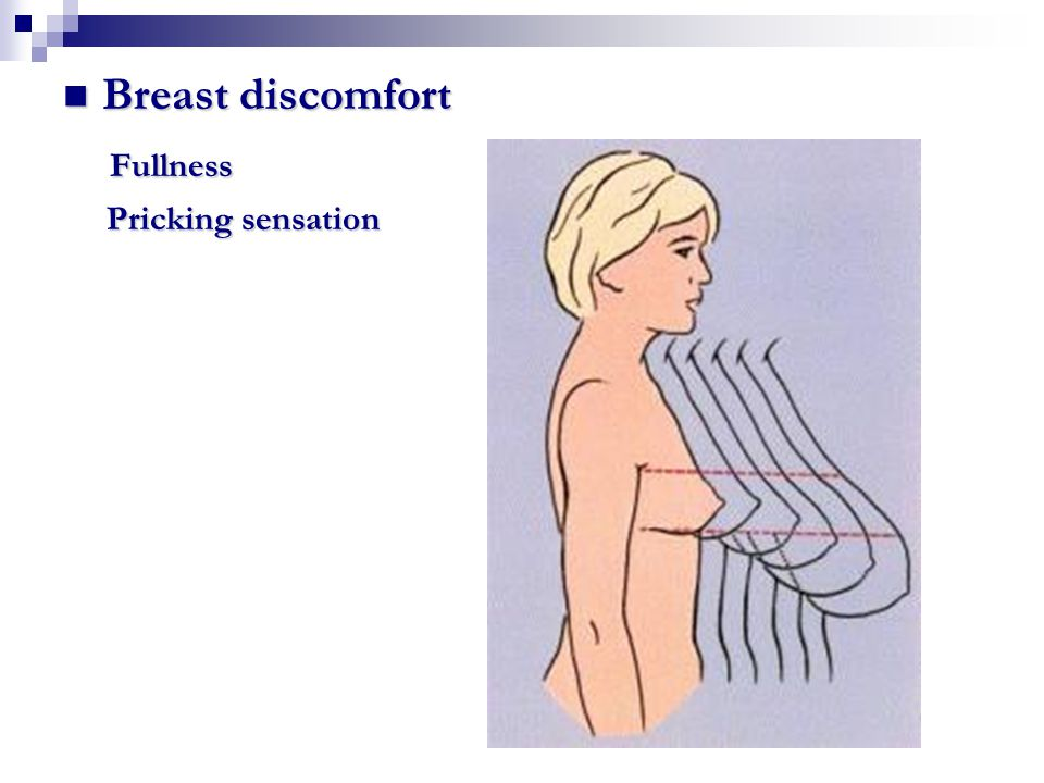 Breast discomfort Breast discomfort Fullness Fullness Pricking sensation Pricking sensation