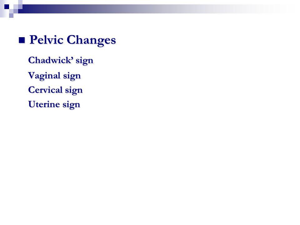 Pelvic Changes Pelvic Changes Chadwick' sign Chadwick' sign Vaginal sign Vaginal sign Cervical sign Cervical sign Uterine sign Uterine sign