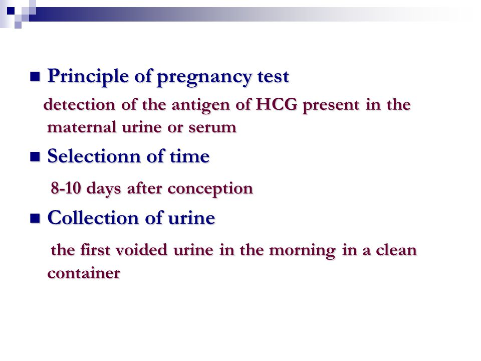 Principle of pregnancy test Principle of pregnancy test detection of the antigen of HCG present in the maternal urine or serum detection of the antige