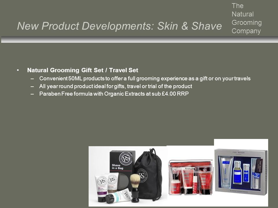 New Product Developments: Skin & Shave The Natural Grooming Company Natural Grooming Gift Set / Travel Set –Convenient 50ML products to offer a full g