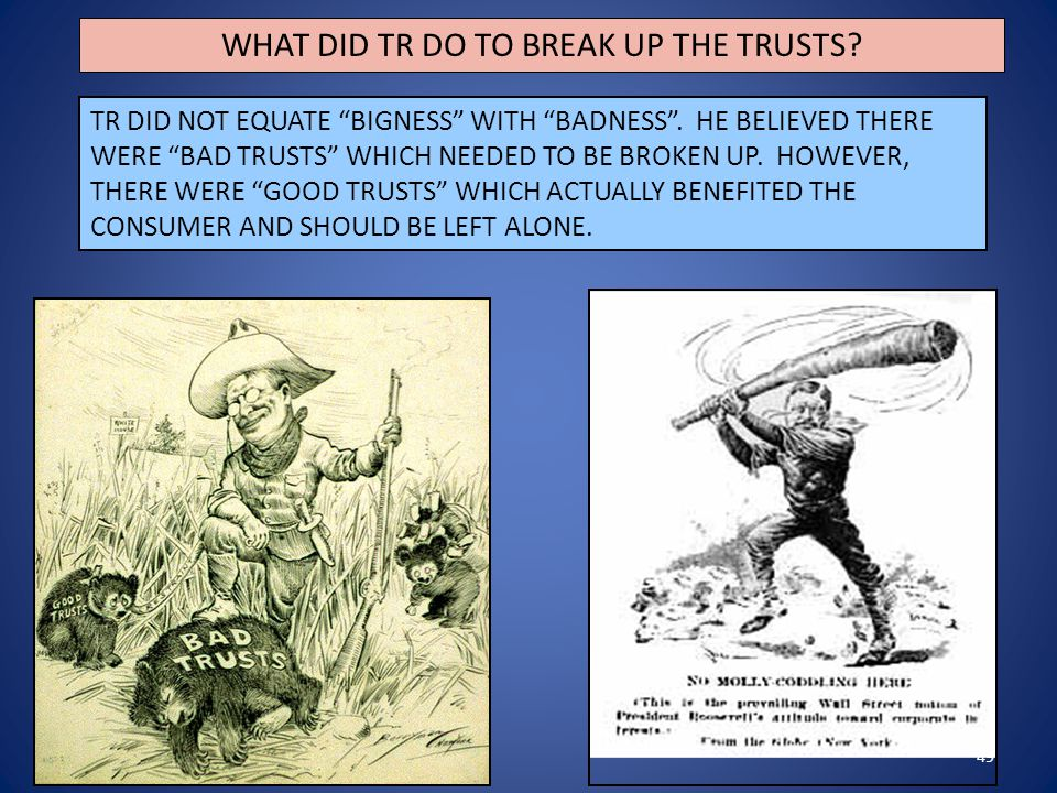 "49 WHAT DID TR DO TO BREAK UP THE TRUSTS? TR DID NOT EQUATE ""BIGNESS"" WITH ""BADNESS"". HE BELIEVED THERE WERE ""BAD TRUSTS"" WHICH NEEDED TO BE BROKEN UP"