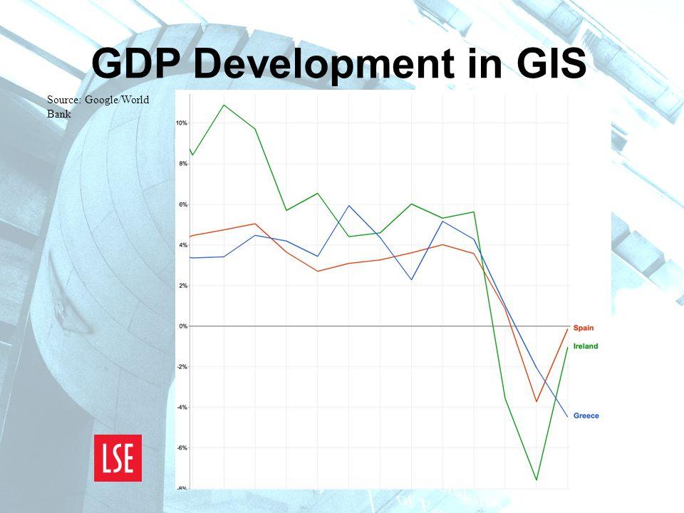 GDP Development in GIS Source: Google/World Bank