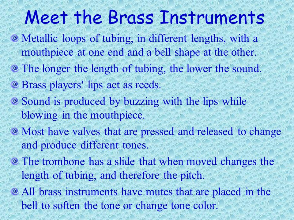 Meet the Brass Instruments Metallic loops of tubing, in different lengths, with a mouthpiece at one end and a bell shape at the other.