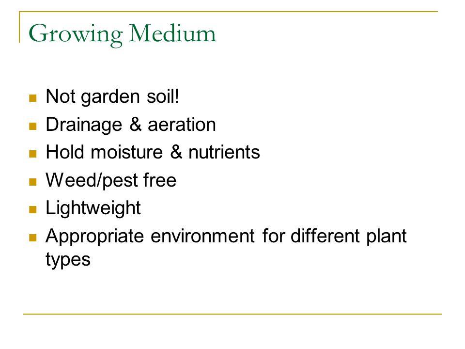 Growing Medium Not garden soil.