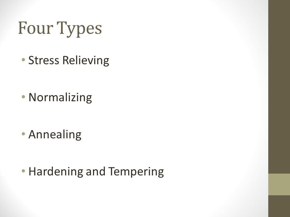 Four Types Stress Relieving Normalizing Annealing Hardening and Tempering