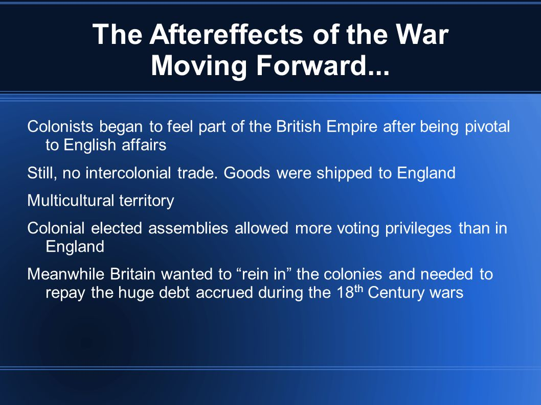 The Aftereffects of the War Moving Forward...