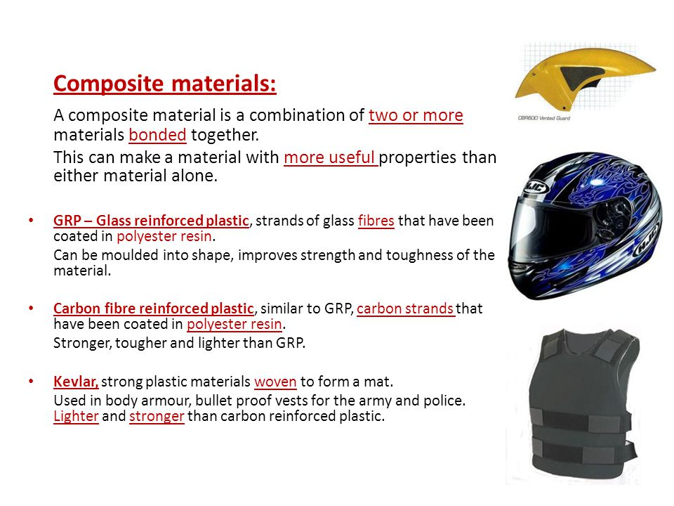 Composite materials: A composite material is a combination of two or more materials bonded together.