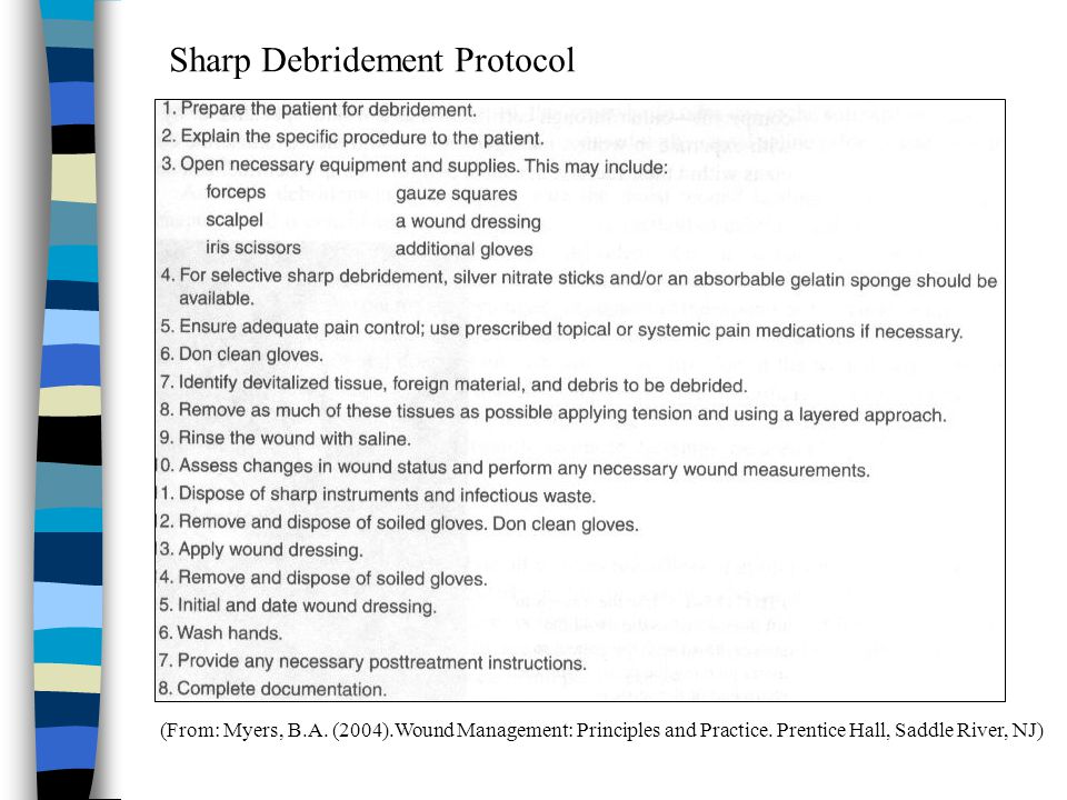 (From: Myers, B.A. (2004).Wound Management: Principles and Practice. Prentice Hall, Saddle River, NJ) Sharp Debridement Protocol