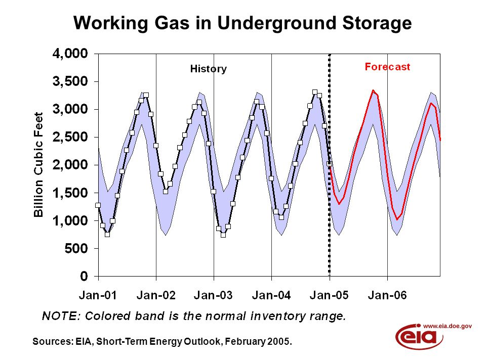 Working Gas in Underground Storage Sources: EIA, Short-Term Energy Outlook, February 2005.