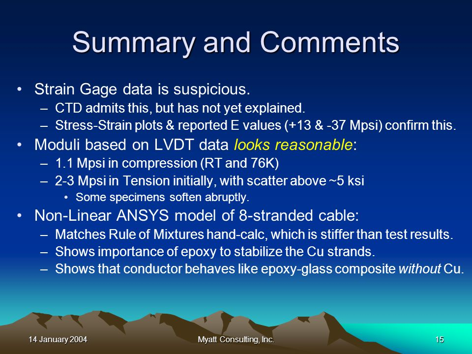 14 January 2004Myatt Consulting, Inc.15 Summary and Comments Strain Gage data is suspicious.