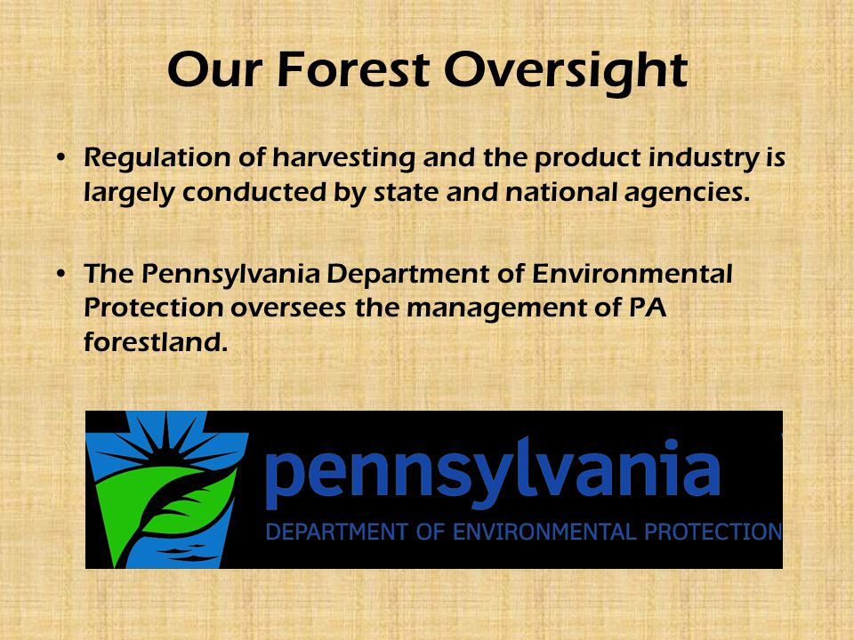 Our Forest Oversight Regulation of harvesting and the product industry is largely conducted by state and national agencies. The Pennsylvania Departmen
