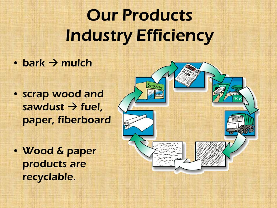 Our Products Industry Efficiency bark  mulch scrap wood and sawdust  fuel, paper, fiberboard Wood & paper products are recyclable.