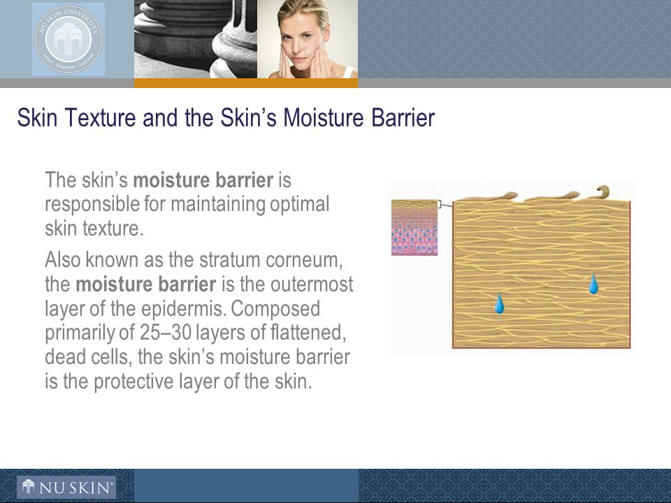 Skin Texture and the Skin's Moisture Barrier The skin's moisture barrier is responsible for maintaining optimal skin texture.