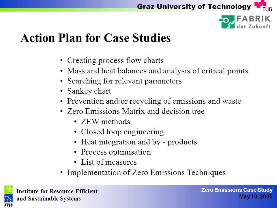 Institute for Resource Efficient and Sustainable Systems Graz University of Technology Zero Emissions Case Study May 13, 2005 Action Plan for Case Studies A Local Water Supply B Soften Water C Steam Boiler D Ion Exchanger E Heating for distillation holding tank F Distillation Device G Distillation holding tank H Water Cooler I Base of product J Cleaning of the batching tank K Cooling of the product L Filling M Autoclave N End product O Canalisation P Re-cooling / Air Condition X Mixture of water for cooling water recirculation Z Cooling Pond A Local Water Supply B Soften Water C Steam Boiler D Ion Exchanger E Heating for distillation holding tank F Distillation Device G Distillation holding tank H Water Cooler I Base of product J Cleaning of the batching tank K Cooling of the product L Filling M Autoclave N End product O Canalisation P Re-cooling / Air Condition X Mixture of water for cooling water recirculation Z Cooling Pond Creating process flow charts Mass and heat balances and analysis of critical points Searching for relevant parameters Sankey chart Prevention and/or recycling of emissions and waste Zero Emissions Matrix and decision tree ZEW methods Closed loop engineering Heat integration and by - products Process optimisation List of measures Implementation of Zero Emissions Techniques