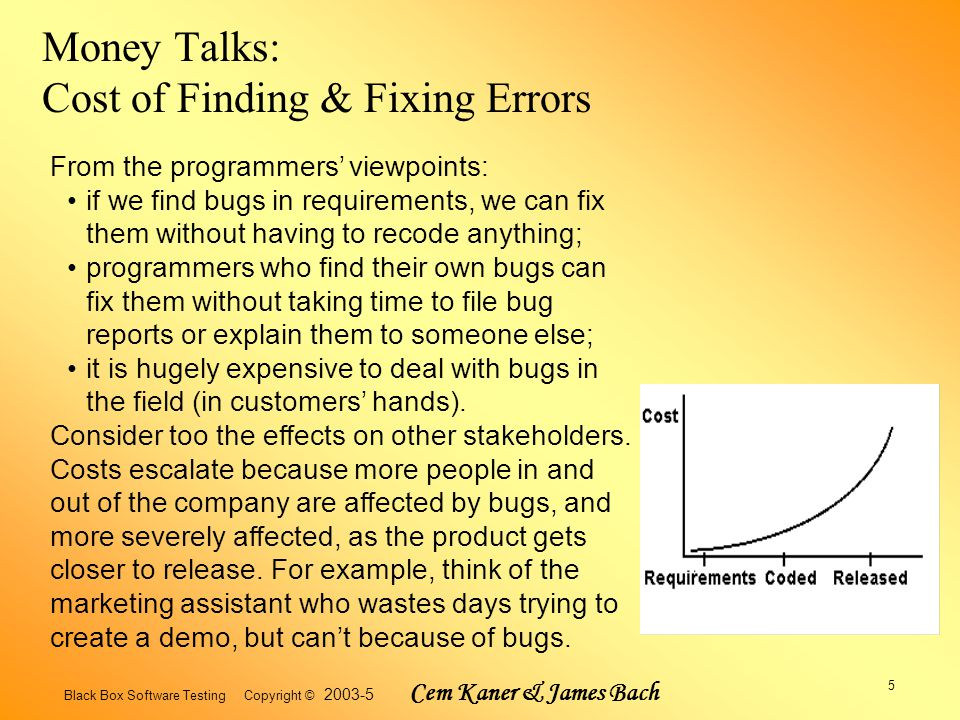 Black Box Software Testing Copyright © 2003-5 Cem Kaner & James Bach 5 Money Talks: Cost of Finding & Fixing Errors From the programmers' viewpoints: if we find bugs in requirements, we can fix them without having to recode anything; programmers who find their own bugs can fix them without taking time to file bug reports or explain them to someone else; it is hugely expensive to deal with bugs in the field (in customers' hands).