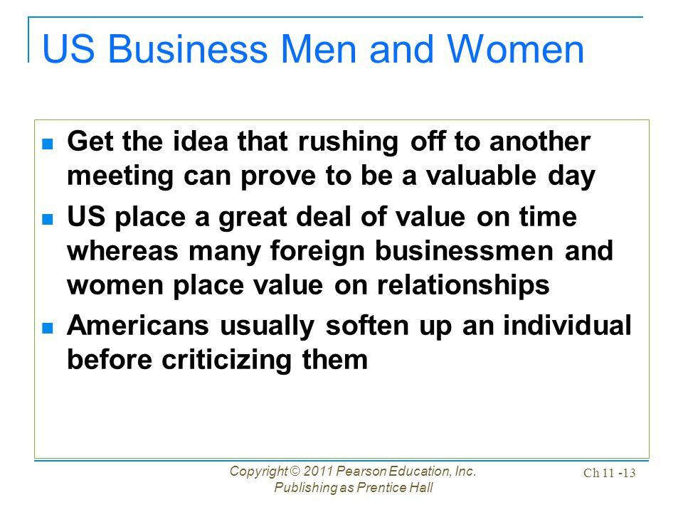 US Business Men and Women Get the idea that rushing off to another meeting can prove to be a valuable day US place a great deal of value on time where
