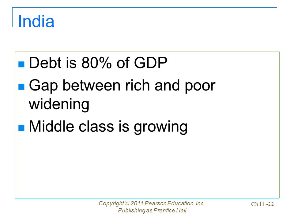 Copyright © 2011 Pearson Education, Inc. Publishing as Prentice Hall Ch 11 -22 India Debt is 80% of GDP Gap between rich and poor widening Middle clas