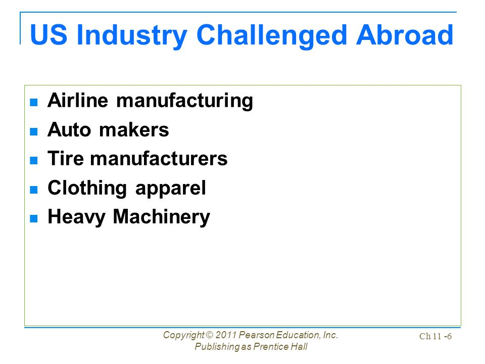 US Industry Challenged Abroad Airline manufacturing Auto makers Tire manufacturers Clothing apparel Heavy Machinery Copyright © 2011 Pearson Education