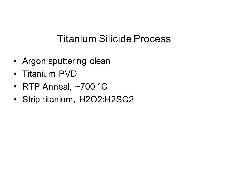 Titanium Silicide Process Argon sputtering clean Titanium PVD RTP Anneal, ~700 °C Strip titanium, H2O2:H2SO2