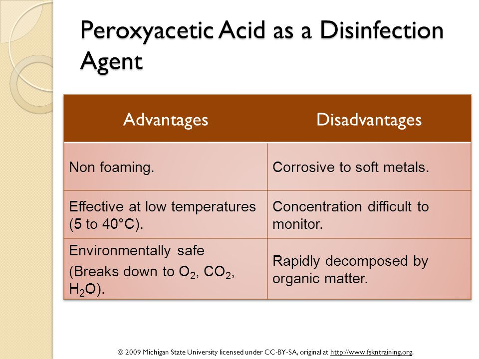 © 2009 Michigan State University licensed under CC-BY-SA, original at http://www.fskntraining.org. Peroxyacetic Acid as a Disinfection Agent