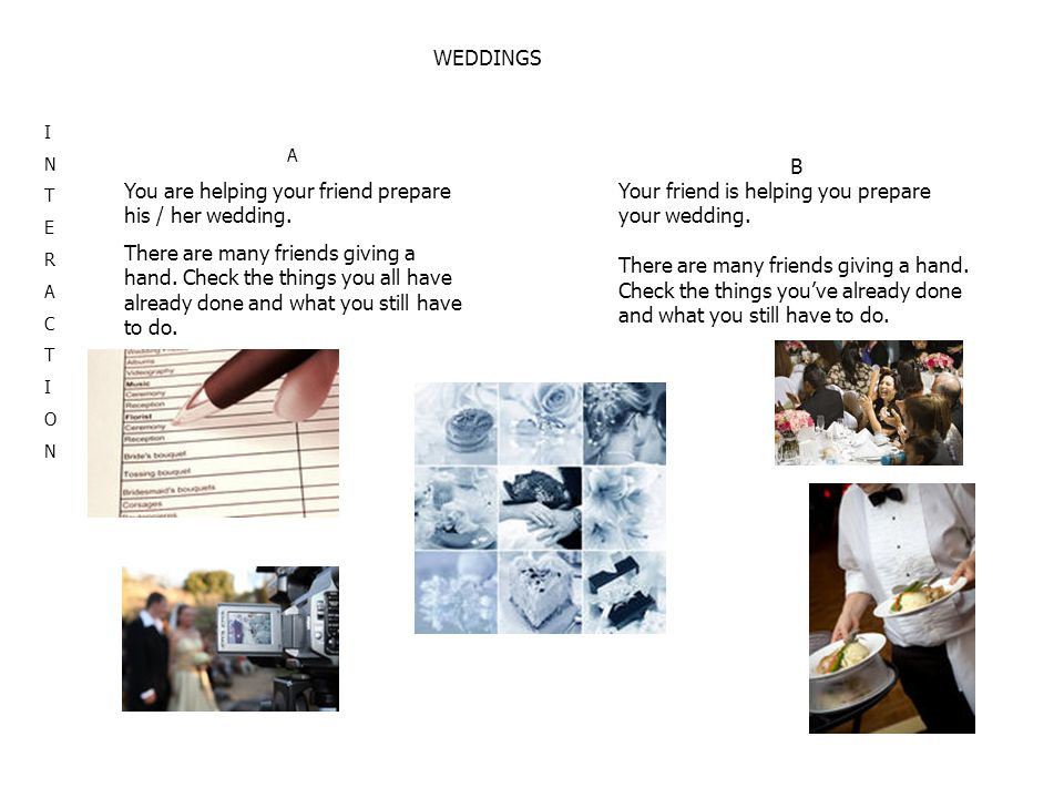 WEDDINGS INTERACTIONINTERACTION A You are helping your friend prepare his / her wedding. There are many friends giving a hand. Check the things you al