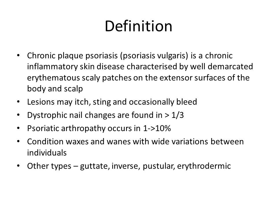 Epidemiology of psoriasis Affects 1.5% in UK Ethnic variation – Rare in Japan and China M = F Bimodal age distribution – Commonest between 10 and 20 years and around 50 years Many cases mild Can be very stigmatising 5% get episodes of severe disease Precipitants / aggravants – Alcohol, NSAIDs, B blockers, Lithium, antimalarials