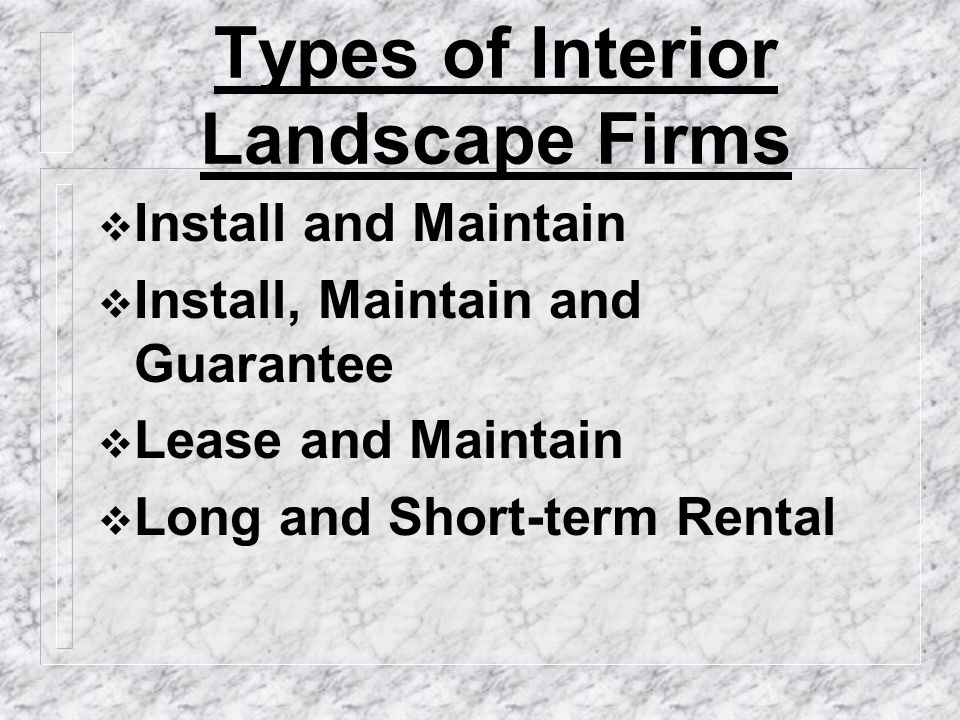 Types of Interior Landscape Firms  Install and Maintain  Install, Maintain and Guarantee  Lease and Maintain  Long and Short-term Rental