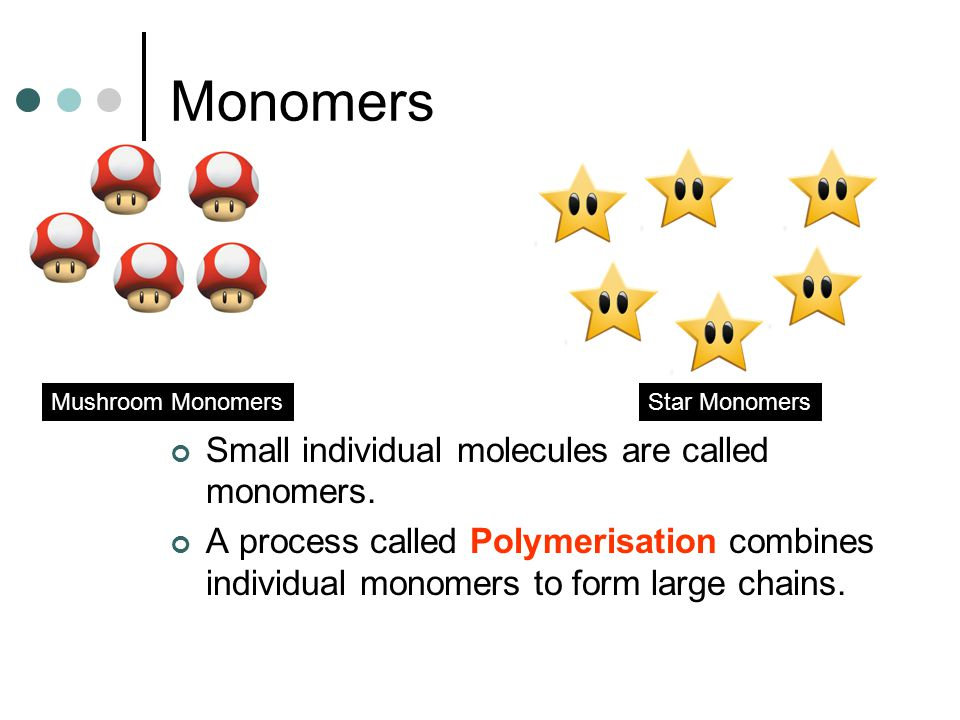Monomers Small individual molecules are called monomers. A process called Polymerisation combines individual monomers to form large chains. Mushroom M