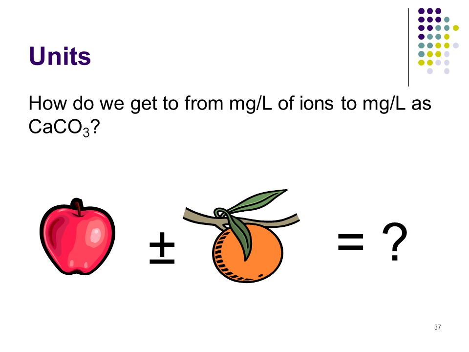 Units How do we get to from mg/L of ions to mg/L as CaCO 3 ± = 37