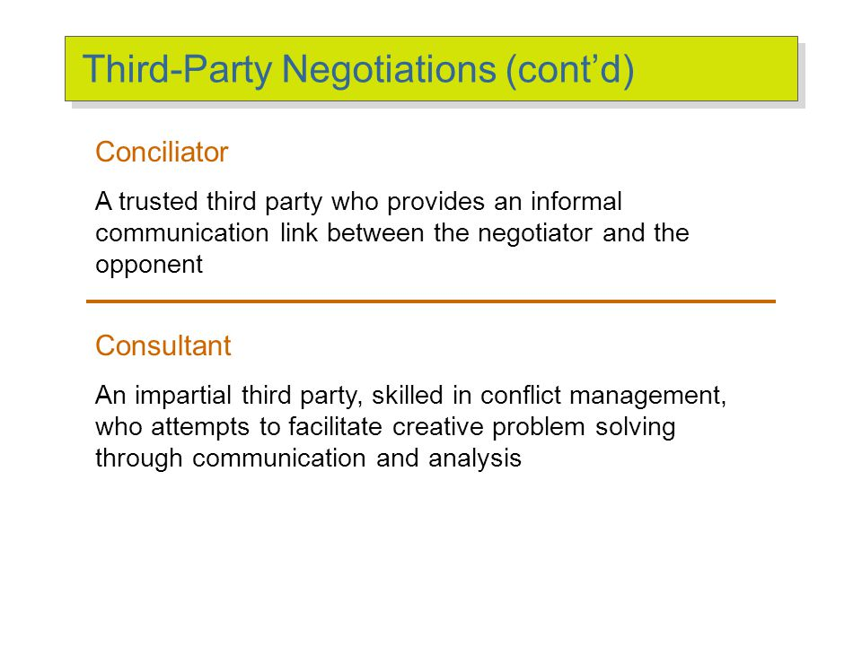 Third-Party Negotiations Mediator A neutral third party who facilitates a negotiated solution by using reasoning, persuasion, and suggestions for alte