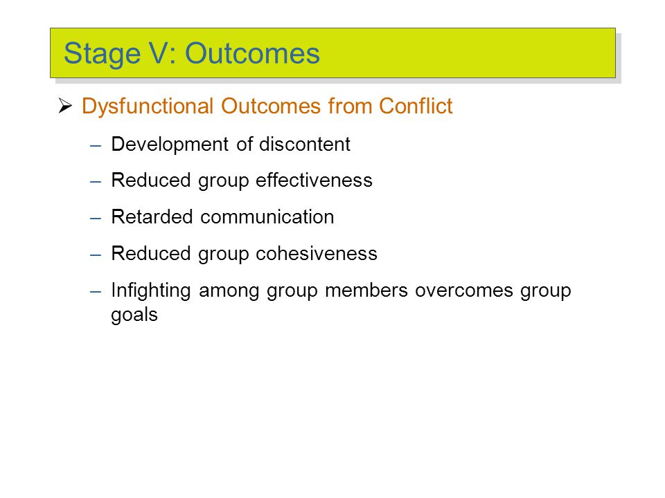 Stage V: Outcomes  Functional Outcomes from Conflict –Increased group performance –Improved quality of decisions –Stimulation of creativity and innov