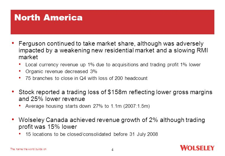 The name the world builds on 4 North America Ferguson continued to take market share, although was adversely impacted by a weakening new residential market and a slowing RMI market Local currency revenue up 1% due to acquisitions and trading profit 1% lower Organic revenue decreased 3% 75 branches to close in Q4 with loss of 200 headcount Stock reported a trading loss of $158m reflecting lower gross margins and 25% lower revenue Average housing starts down 27% to 1.1m (2007:1.5m) Wolseley Canada achieved revenue growth of 2% although trading profit was 15% lower 15 locations to be closed/consolidated before 31 July 2008