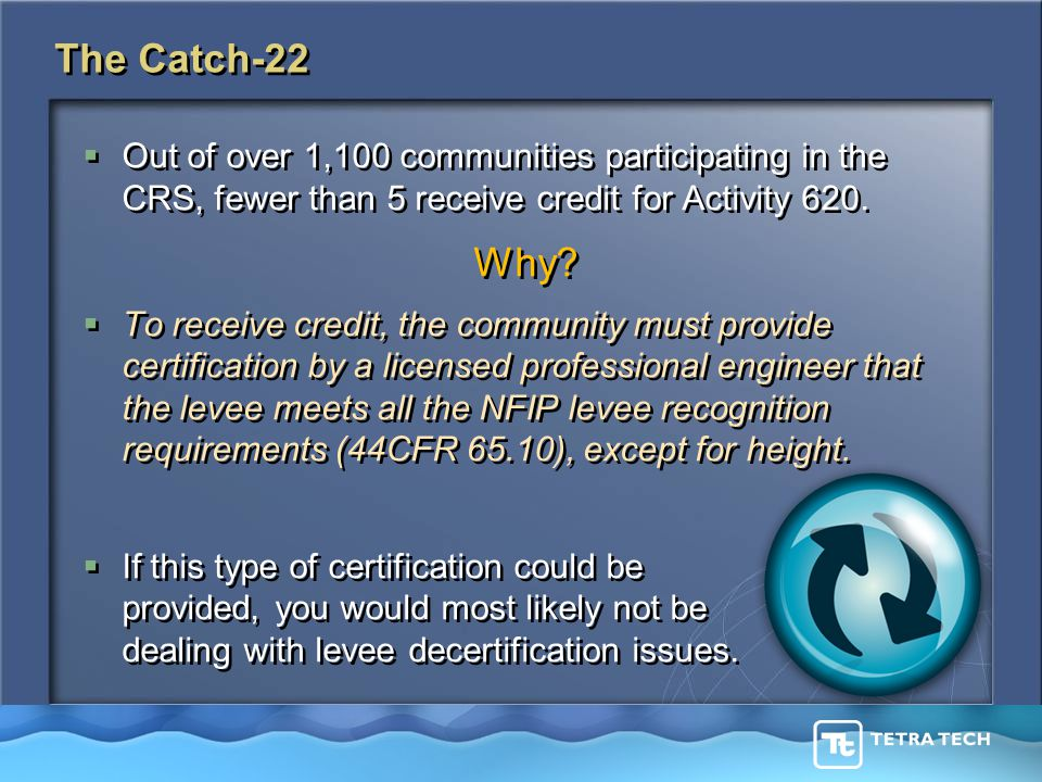 The Catch-22  Out of over 1,100 communities participating in the CRS, fewer than 5 receive credit for Activity 620.