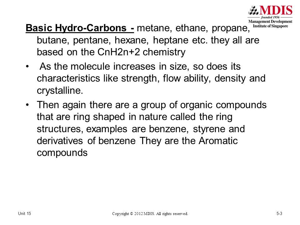 Basic Hydro-Carbons - metane, ethane, propane, butane, pentane, hexane, heptane etc.