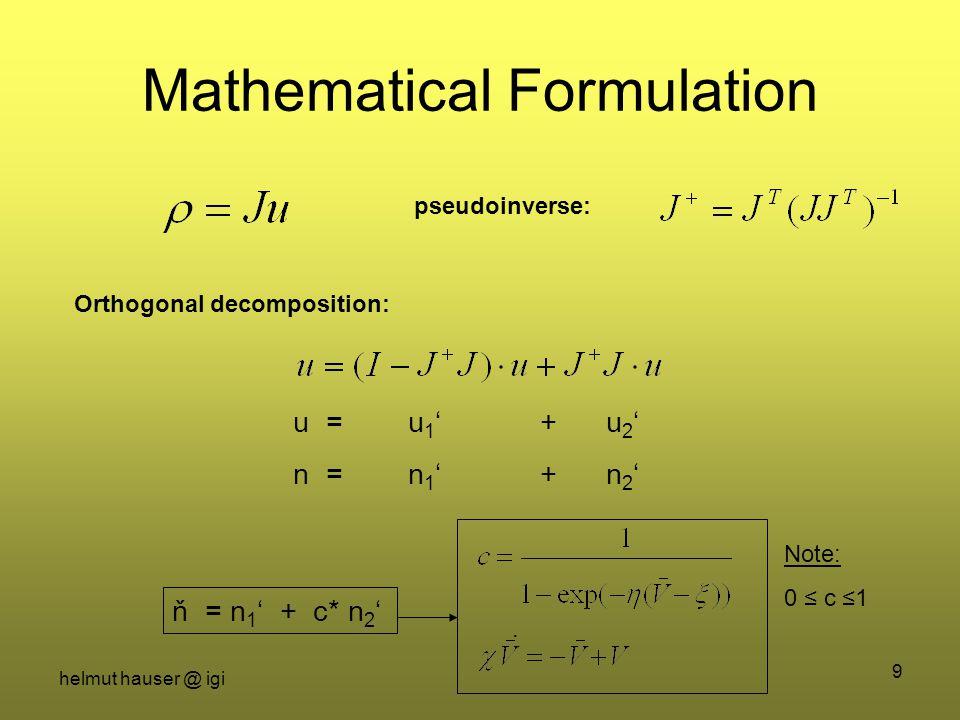 helmut hauser @ igi 9 Mathematical Formulation Orthogonal decomposition: pseudoinverse: u = u 1 ' + u 2 ' n = n 1 ' + n 2 ' ň = n 1 ' + c* n 2 '. Note