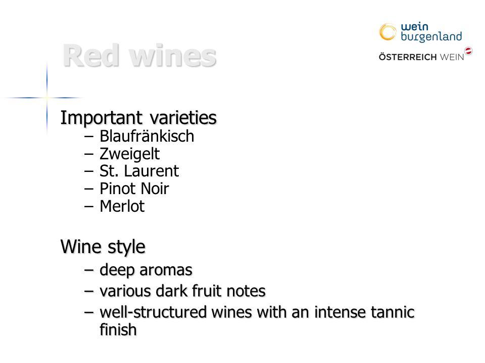Important varieties – –Blaufränkisch – –Zweigelt – –St.