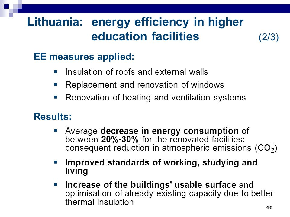 10 Lithuania: energy efficiency in higher education facilities (2/3) EE measures applied:  Insulation of roofs and external walls  Replacement and renovation of windows  Renovation of heating and ventilation systems Results:  Average decrease in energy consumption of between 20%-30% for the renovated facilities; consequent reduction in atmospheric emissions (CO 2 )  Improved standards of working, studying and living  Increase of the buildings' usable surface and optimisation of already existing capacity due to better thermal insulation